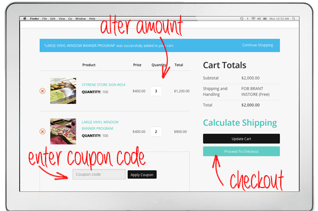 A screenshot of the website that is showing you the page that opens when you select your cart. The screenshot has arrows pointing towards the total amount, the coupon code area, and the checkout button.