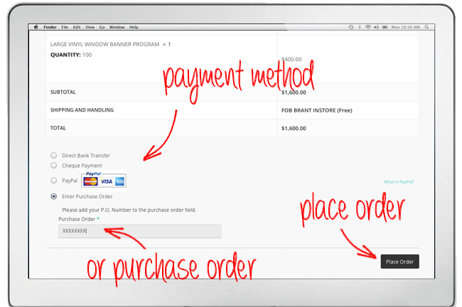 A screenshot of the website that is showing you the page that opens when you select the checkout button. The screenshot has arrows pointing towards the payment method, the purchase order number, and the place order button.