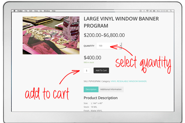 A screenshot of the website that is showing you the page that opens when you select a product. This screenshot has an arrow pointing towards the quantity and add to cart button.