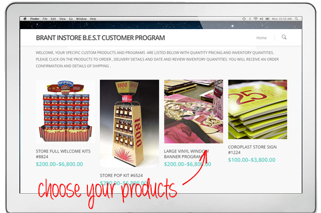 A screenshot of the website that is showing you the home page. The screenshot has an arrow pointing towards a product.