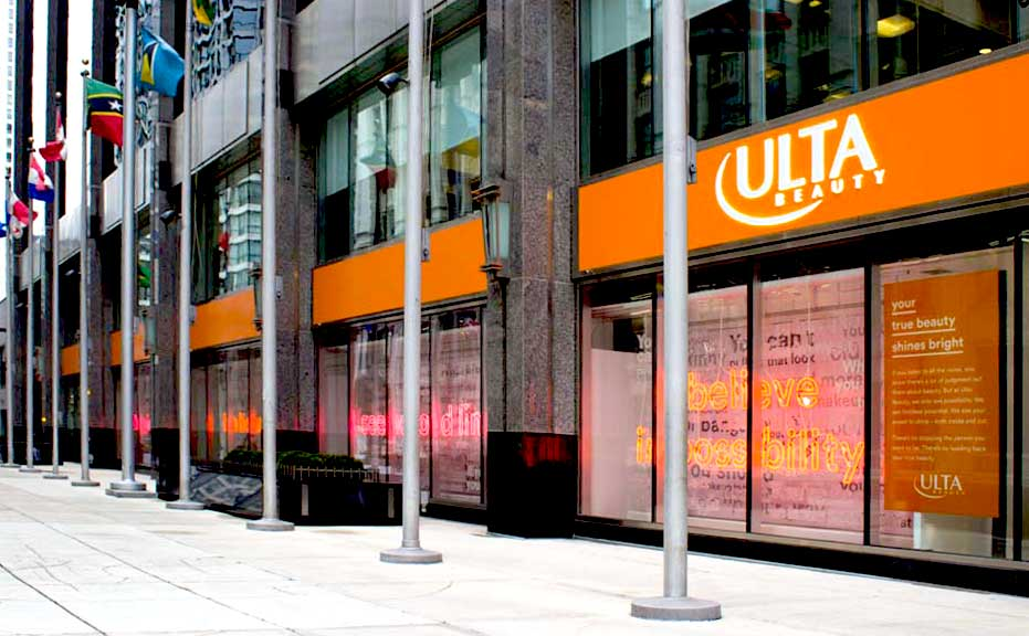 A photograph of an Ulta Beauty shop from the outside on a street corner