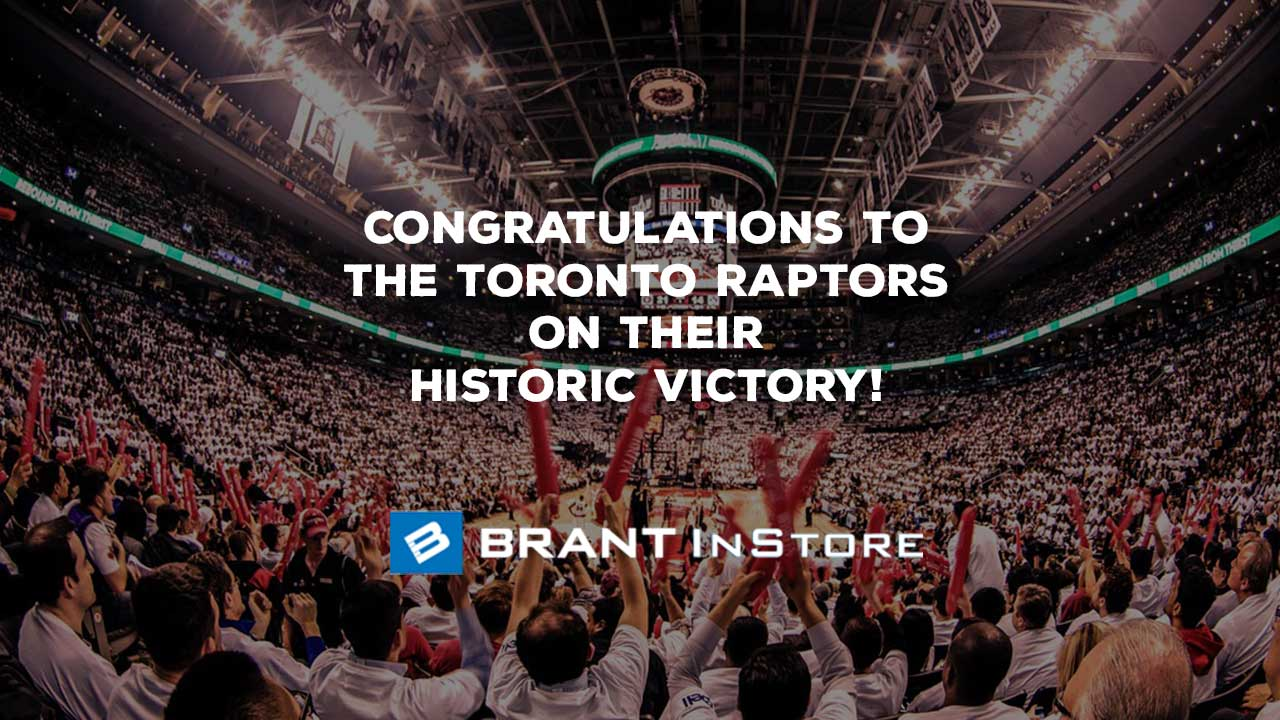 A graphic image showing the Toronto Raptors arena and congratulating them on winning the NBA Finals.
