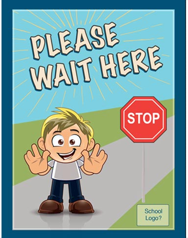 """Image shows a poster with social distancing message """"Stop - Please wait here""""."""