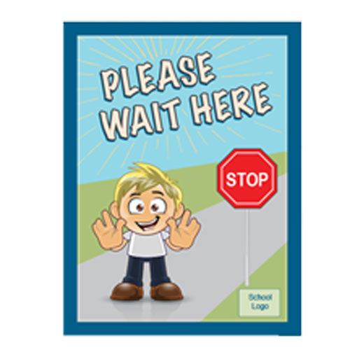 """A poster with the words """"Please Wait here. It also has a stop sign and a boy raising his arms."""