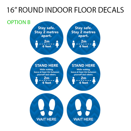 Image shows samples of 16 inch round floor decals with social distancing messages.
