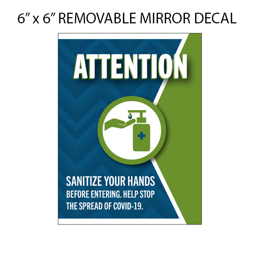 Image shows sample of a removable mirror decal with message to sanitise your hands.