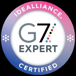 A photograph of the G7 Expert certificate emblem
