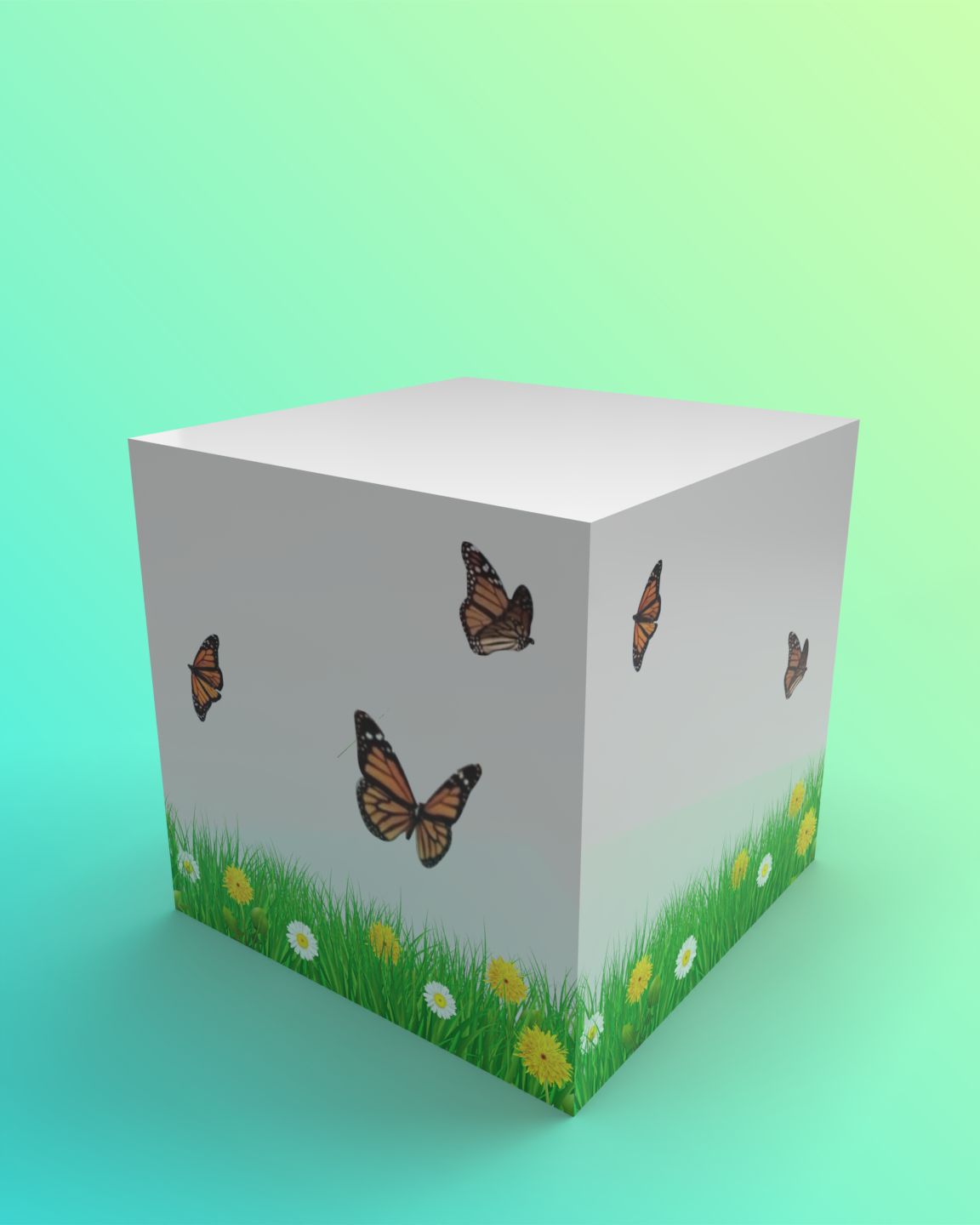 A decorative cube featuring monarch butterflies over grass a flowers painted on the sides.